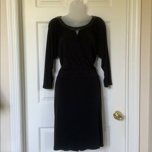 Soft jersey dress with faux leather trim. NWOT